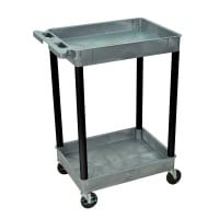 Luxor - GYSTC11BK - Plastic 2 Shelf Utility Tub Cart - Gray