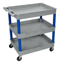 Luxor - GYTC111BU - Plastic 3 Shelf Utility Tub Cart - Gray