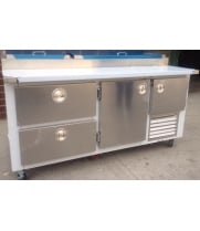 "Universal Coolers MPP-6C - 72"" Pizza Prep Table - Marble Top - 1.5 Doors - 2 Drawers"