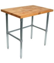"John Boos JNB02 - 48"" X 24"" Butcher Block Work Table W/ Galvanized Cross Bar"