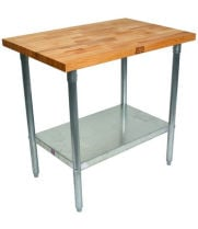 "John Boos JNS02 - 48"" X 24"" Butcher Block Work Table W/ Galvanized Under Shelf"