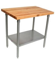 "John Boos SNS01 - 36"" X 24"" Butcher Block Work Table W/ Stainless Steel Under Shelf"