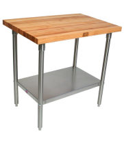 "John Boos SNS14 - 48"" X 36"" Butcher Block Work Table W/ Stainless Steel Under Shelf"