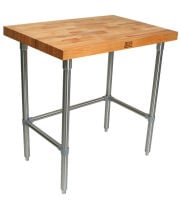 "John Boos TNB01 - 36"" X 24"" Butcher Block Work Table W/ Stainless Steel Cross Bar"