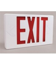 Universal 695XPRWBB - Lighted Exit Sign with Illuminated Double Face, Red Letters and Battery Backup (120V)