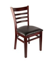 "Universal 164CLADDRMAH - Mahogany Finish Wooden Ladder Back Chair with 1 1/2"" Padded Seat"