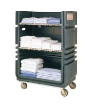 Universal CLT48A - MetroTrux Convertible Linen Truck / Cart 48 Cubic Ft. Capacity - 2 Fixed & 2 Swivel Casters w/ 2 Folding Wire Shelves