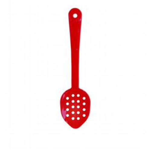 Thunder Group Red Polycarbonate Perforated Serving Spoons 11