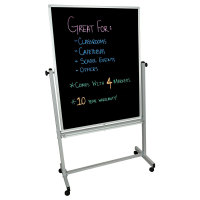 Universal BM3648M - Luxor Double Sided Magnetic Black Board w/ Aluminum Frame - Stand