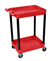 Luxor RDSTC11BK - Plastic 2 Shelf Utility Tub Cart - Red