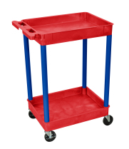 Luxor RDSTC11BU - Plastic 2 Shelf Utility Tub Cart - Red
