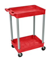 Luxor RDSTC11GY - Plastic 2 Shelf Utility Tub Cart - Red