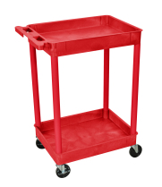 Luxor STC11RD - Plastic 2 Shelf Utility Tub Cart - Red