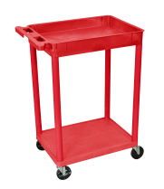 Luxor STC12RD - Plastic 2 Shelf Utility Tub Cart - Red