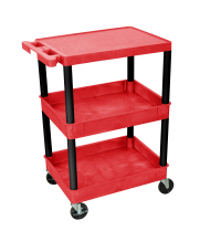 Luxor RDSTC211BK - Plastic 3 Shelf Utility Tub Cart - Red