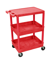 Luxor STC211RD - Plastic 3 Shelf Utility Tub Cart - Red