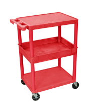 Luxor STC212RD - Plastic 3 Shelf Utility Tub Cart - Red