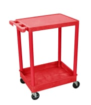 Luxor STC21RD - Plastic 2 Shelf Utility Tub Cart - Red