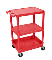 Luxor STC221RD - Plastic 3 Shelf Utility Tub Cart - Red
