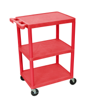 Luxor STC222RD - Plastic 3 Shelf Utility Tub Cart - Red