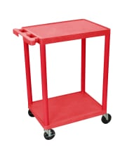 Luxor STC22RD - Plastic 2 Shelf Utility Tub Cart - Red