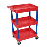 Luxor - RDSTC111BU - Plastic 3 Shelf Utility Tub Cart - Red