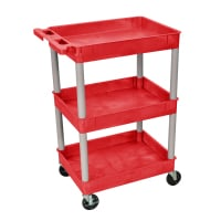 Luxor - RDSTC111GY - Plastic 3 Shelf Utility Tub Cart - Red