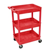 Luxor - STC111RD - Plastic 3 Shelf Utility Tub Cart - Red