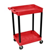 Luxor - RDSTC11BK - Plastic 2 Shelf Utility Tub Cart - Red