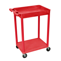 Luxor - STC12RD - Plastic 2 Shelf Utility Tub Cart - Red