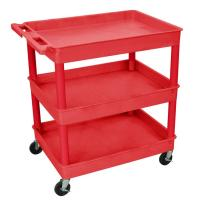 Luxor - TC112RD - Plastic 3 Shelf Utility Tub Cart - Red