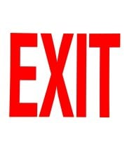 "Universal 472E1207G - Red on White Glow-in-the-Dark Exit Sign Adhesive Label - 8"" x 12"""