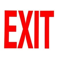 Universal 472E1207G - Red on White Glow-in-the-Dark Exit Sign Adhesive Label - 8