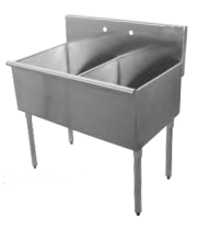 Universal BS2424-2 - Two Compartment Sink - 48""