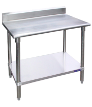 "Universal B5SG2484 - 84"" X 24"" Stainless Steel Work Table W/ Back Splash and Galvanized Under Shelf"
