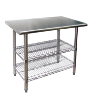 "Universal TS2424 - 24"" X 24"" Stainless Steel Work Table W/ Wire Under Shelves"