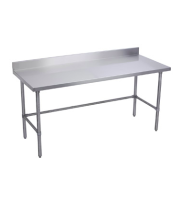 "Universal B5SG2430-RCB - 30"" X 24"" Stainless Steel Work Table W/ Back Splash and Galvanized Cross Bar"