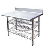 "Universal B5TS2448 - 48"" X 24"" Stainless Steel Work Table W/ Back Splash & Wire Under Shelf"
