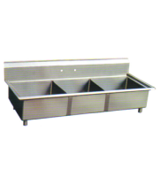 "Universal DD2020-3 - 69"" Three Compartment Deep Draw Sink - NSF Certified"