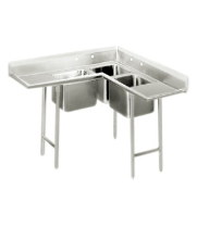 "Universal CS4625 - 46"" X 25"" Three Compartment Corner Sink"