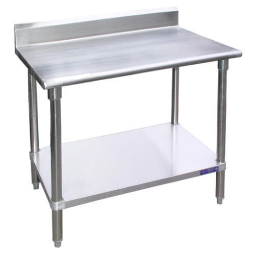 Universal BSG X Stainless Steel Work Table W Back - Stainless steel work table with shelves