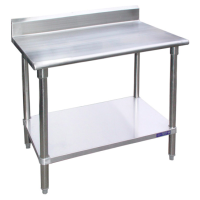 Universal Stainless Steel Prep Table W/ 2 Galvanized Under Shelves And Back Splash 72″ x 30″ x 32