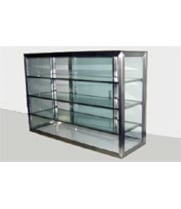 "Carib 13S - 4 Compartment Sliding Door Display Case 10"" x 24"""