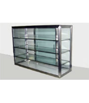 "Carib 19S - 4 Compartment Sliding Door Display Case 12"" x 28"""