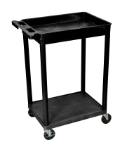 Luxor STC12B - Plastic 2 Shelf Utility Tub Cart - Black