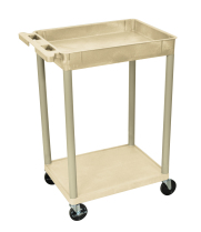 Luxor STC12P - Plastic 2 Shelf Utility Tub Cart - Putty