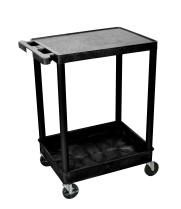 Luxor STC21B - Plastic 2 Shelf Utility Tub Cart - Black