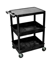 Luxor STC211B - Plastic 3 Shelf Utility Tub Cart - Black
