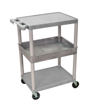 Luxor STC212G - Plastic 3 Shelf Utility Tub Cart - Gray