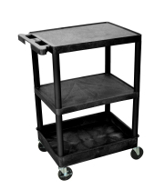 Luxor STC221B - Plastic 3 Shelf Utility Tub Cart - Black